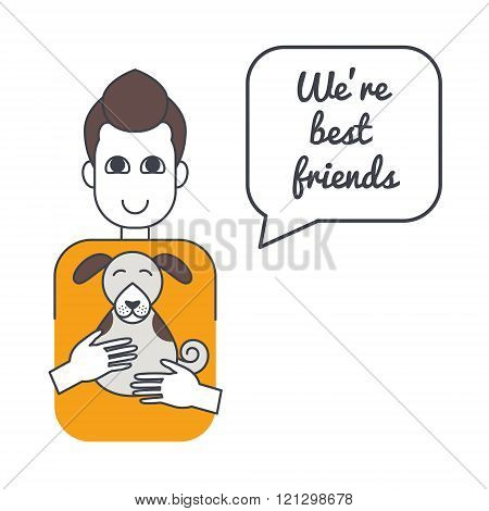 Man and dog with speech bubble and saying