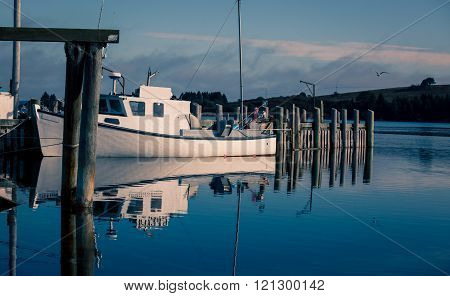 white fishing boat