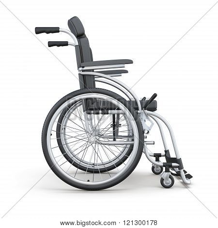 Wheelchair on a white background. Side view. 3d rendering