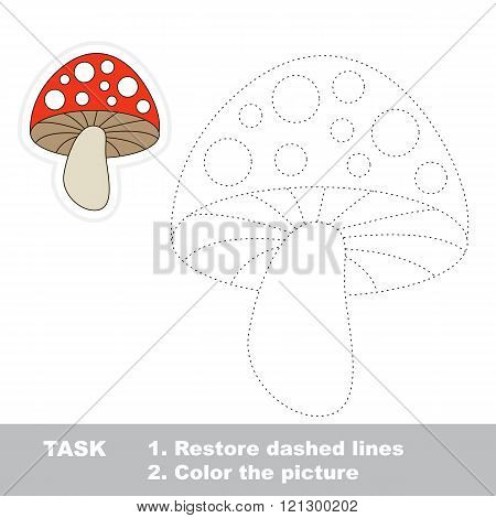Toadstool in vector to be traced. Restore dashed line and color the picture. Trace game for children.