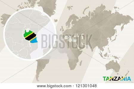 Zoom On Tanzania Map And Flag. World Map.