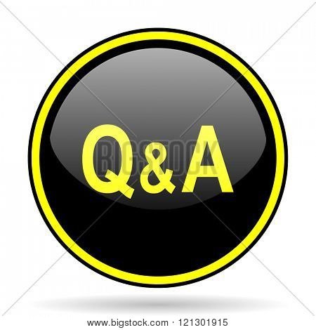 question answer black and yellow modern glossy web icon