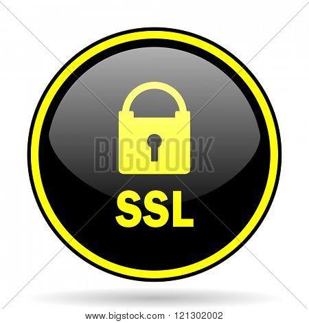 ssl black and yellow modern glossy web icon