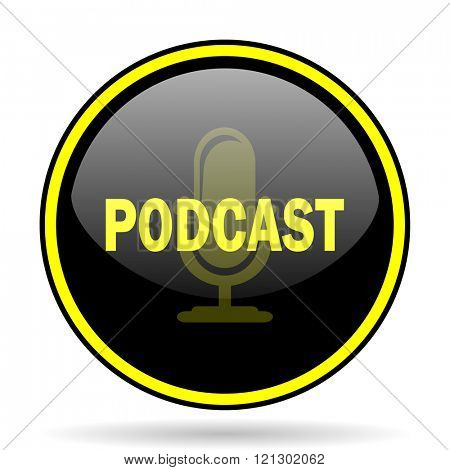 podcast black and yellow modern glossy web icon