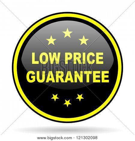 low price guarantee black and yellow modern glossy web icon