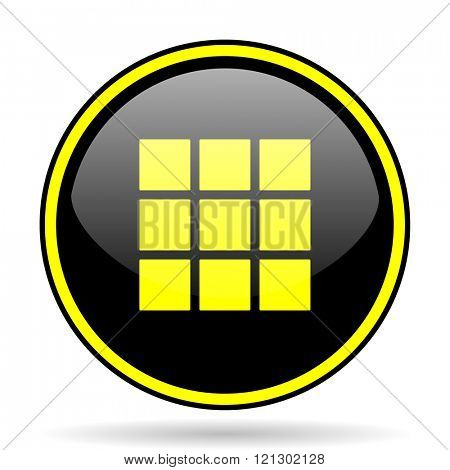 thumbnails grid black and yellow modern glossy web icon