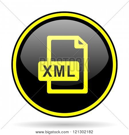 xml file black and yellow modern glossy web icon