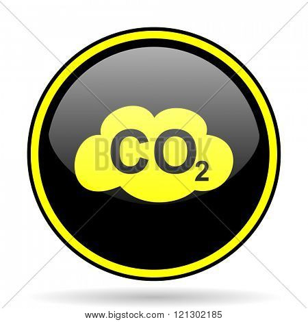 carbon dioxide black and yellow modern glossy web icon