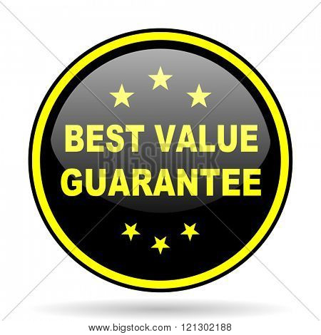 best value guarantee black and yellow modern glossy web icon