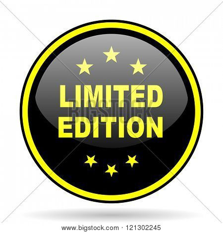 limited edition black and yellow modern glossy web icon