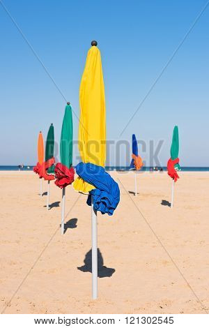 The Famous Colorful Parasols On Deauville Beach