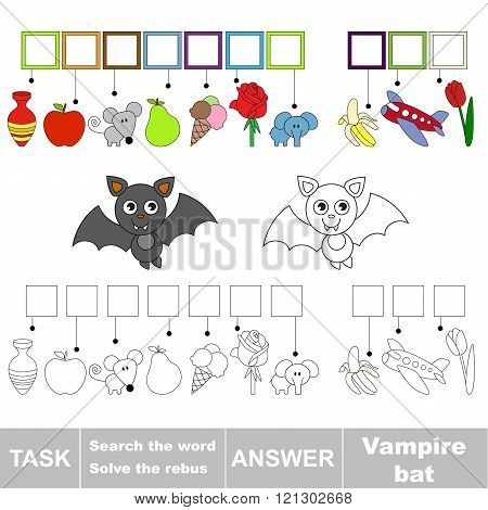 Vector rebus game for children. Find solution and write the hidden word Vampire Bat