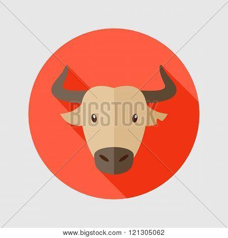 Spanish Bull Buffalo Flat Icon. Animal Head Vector
