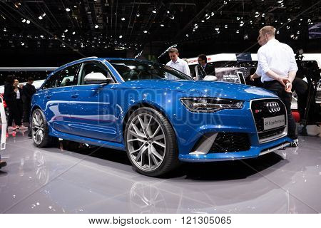 GENEVA, SWITZERLAND - MARCH 1: Geneva Motor Show on March 1, 2016 in Geneva, Audi RS6, side-front view
