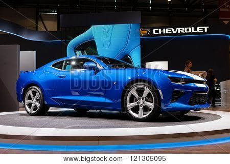 GENEVA, SWITZERLAND - MARCH 1: Geneva Motor Show on March 1, 2016 in Geneva, Chevrolet Camaro, front-side view