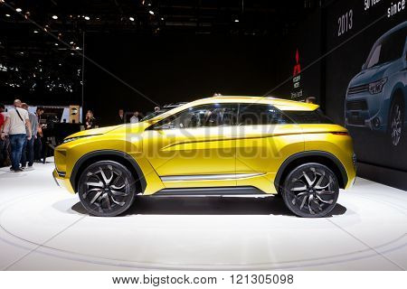 GENEVA, SWITZERLAND - MARCH 1: Geneva Motor Show on March 1, 2016 in Geneva, Mitsubishi eX SUV concept, side view