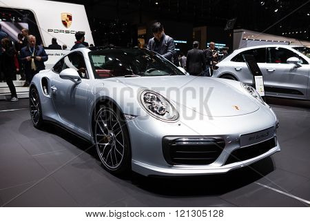 GENEVA, SWITZERLAND - MARCH 1: Geneva Motor Show on March 1, 2016 in Geneva, Porsche 911 Turbo S, front-side view