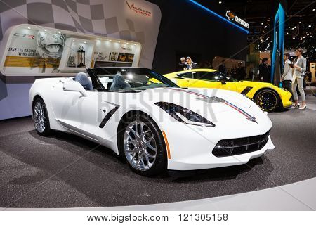 GENEVA, SWITZERLAND - MARCH 1: Geneva Motor Show on March 1, 2016 in Geneva, Chevrolet Corvette, front-side view