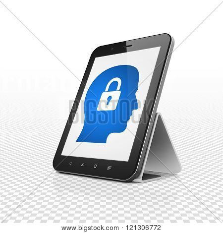 Data concept: Tablet Computer with Head With Padlock on display