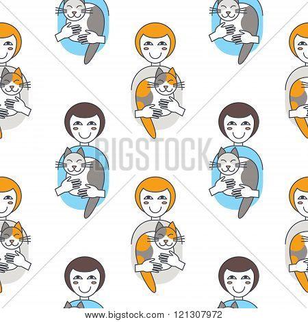 Happy women cat owners seamless pattern.