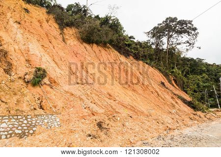 Slope Erosion With Earth Collapse At Slope In Tropical Environment