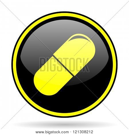 drugs black and yellow modern glossy web icon