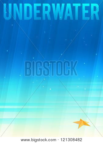 Light Simplified Underwater Background With Starfish. Vector Illustration, Eps10.