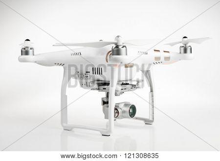 PRAGUE CZECH REPUBLIC - MARCH 7, 2015: Drone quadrocopter Dji Phantom 3 Professional with 4K digital camera.
