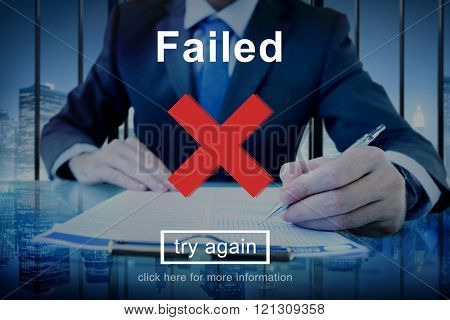 Failed Error Falling Mistake Negative Stress Bad Concept