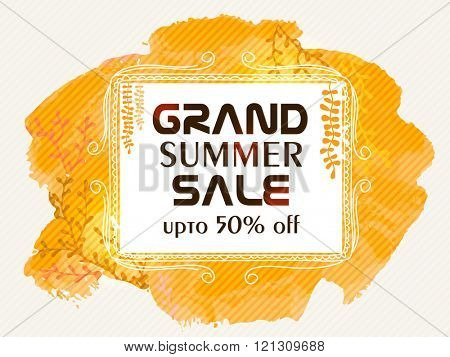 Grand Summer Sale Banner, Sale Poster, Sale Flyer, Sale Vector. 50% Off, Sale Background. Vector illustration.