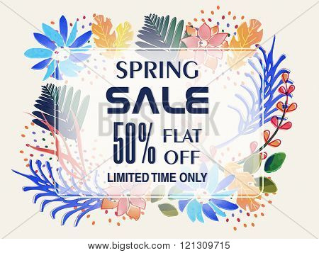 Spring Sale Banner, Sale Poster, Sale Flyer, Sale Vector. 60% Off, Sale Background. Vector illustration.