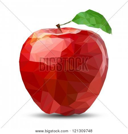 low poly Apple abstract isolated on a white backgrounds