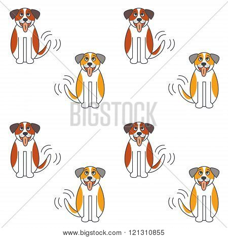 Happy St. Bernard dog seamless pattern.
