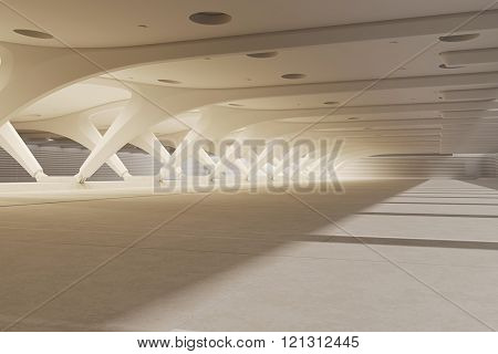 3d render of empty underground parking space