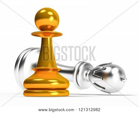checkmate figure pawn and queen on a white background