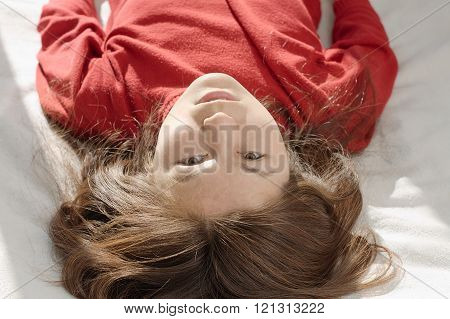 Asian woman upside down portrait