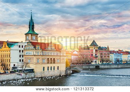 Beautiful View Of The Old Town And Vltava River At Sunrise In Prague, Czech Republic
