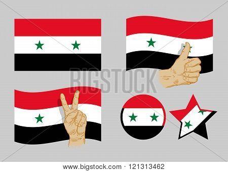 Syria flag icons set. vector illustration