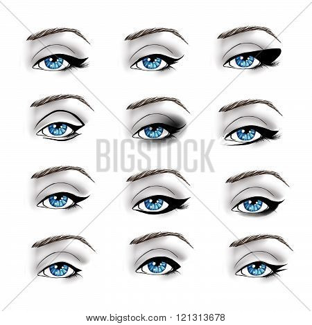 Fashion Illustration - Collection of different make up eyeliners