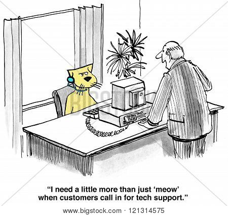 Business cartoon about inattentive customer service in tech support.