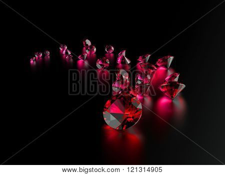 Gemstone on black . Jewelry background. Garnet or ruby