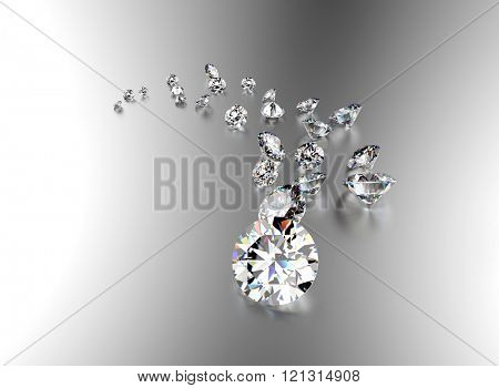 Gemstone on white . Jewelry background. Diamond