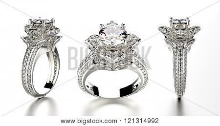 Fashion ring with diamond. Sign of love. Fashion jewelry