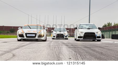 Audi R8 and Two Mitsubishi EVO 10