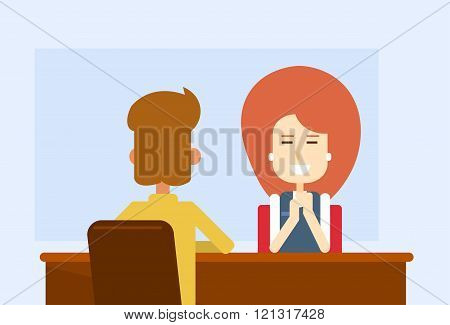 Business Meeting Office Woman Sit Table With Client