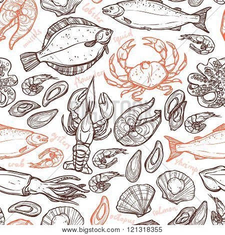 Pattern with seafood hand drawn elements with lobster, octopus, squid, salmon, flounder, crab, mussels, oysters and shrimps on white background