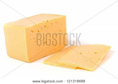 Hard cheese with slices on white background