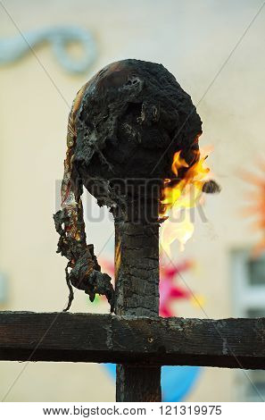 Burning Ritual Dolls On Pagan Celebration Of Spring.