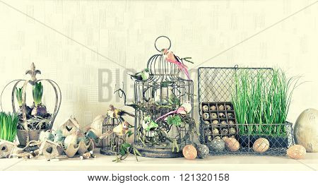 Easter Decoration With Eggs Birds Flowers Vintage Style