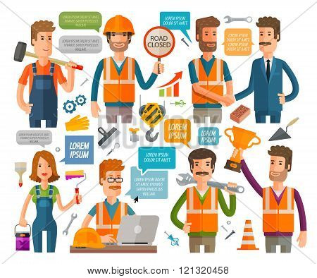 construction and repair icons set. vector illustration